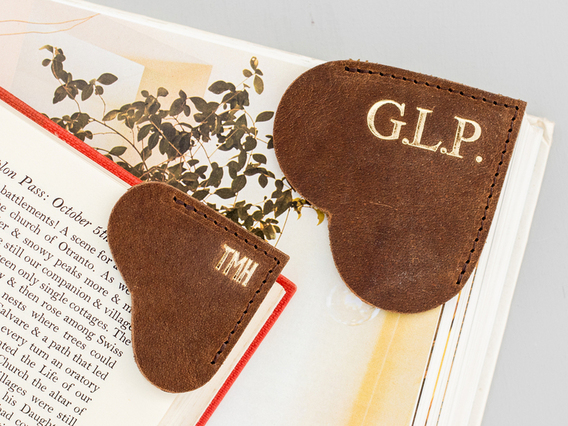 Leather Bookmark - Small Brown