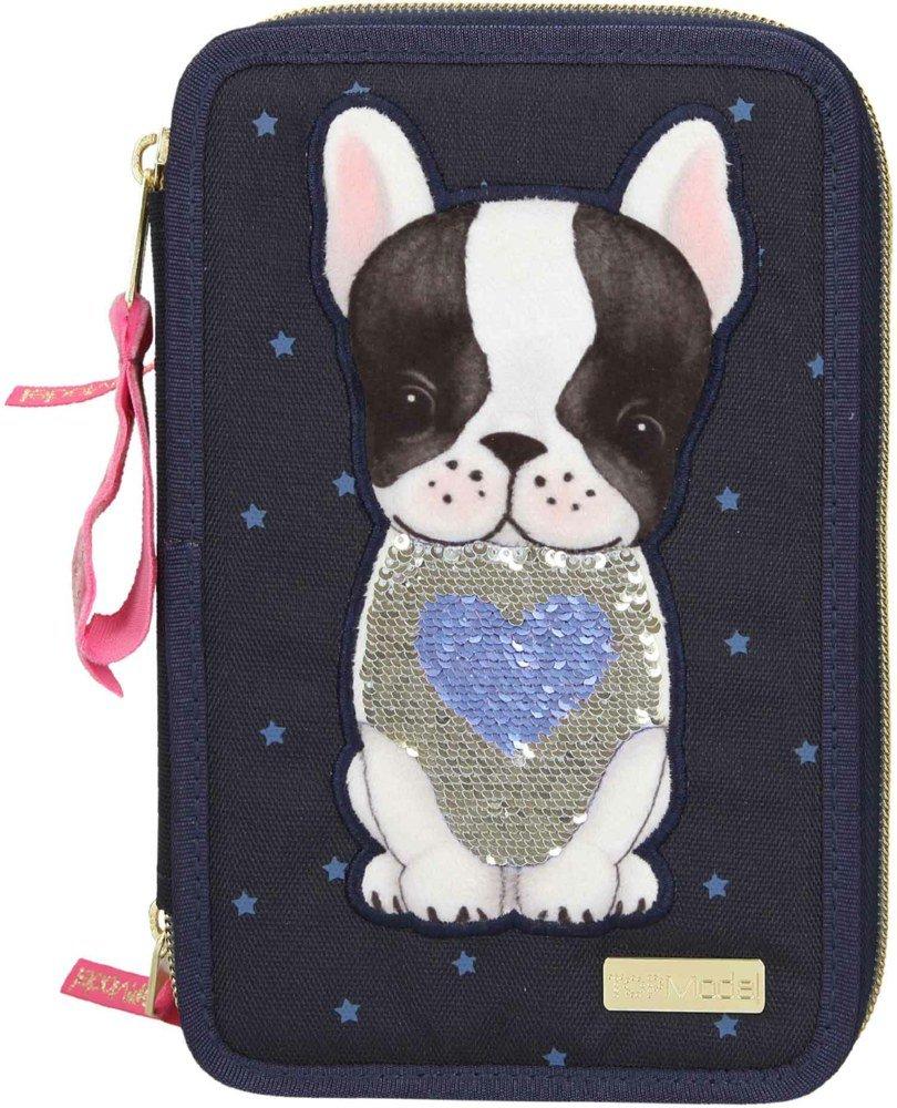 Top Model - Trippel Pencil Case w/Dog - Blue (0410679)