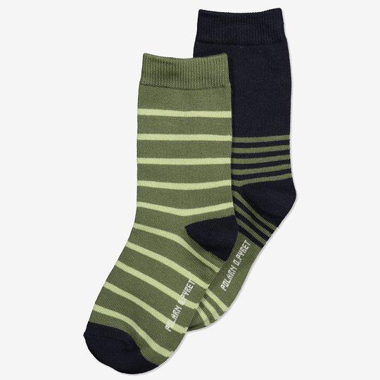 2-pakning stripete sokker grønn