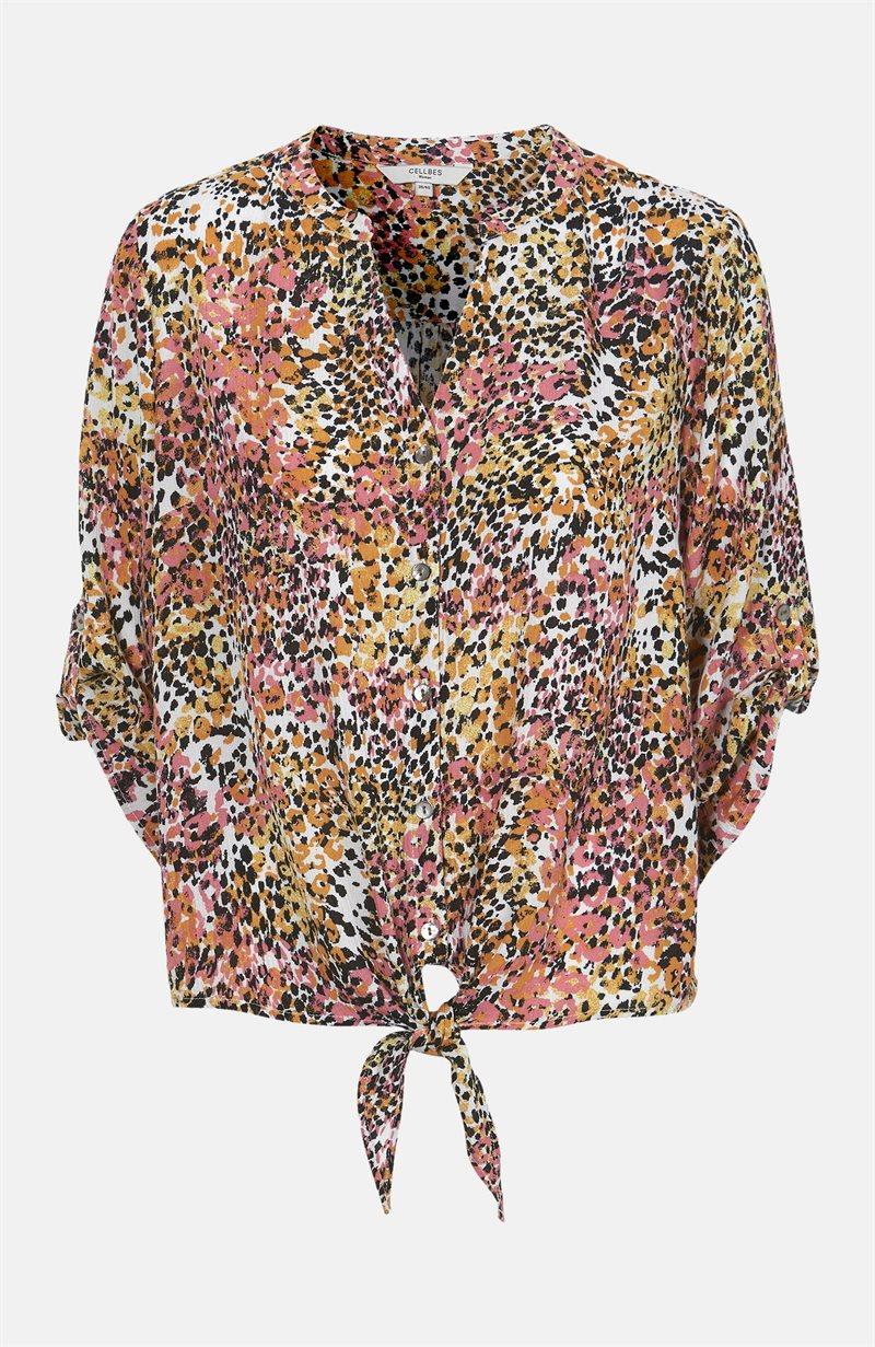 Kuvioitu, solmittava pusero viskoosikreppiä