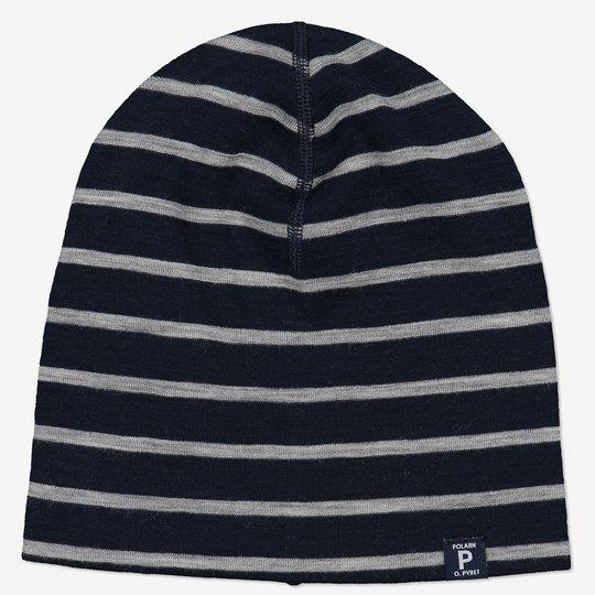 Merinoull stripet lue mørkblå