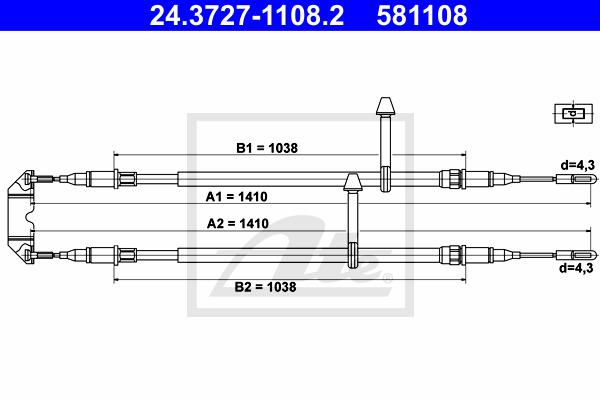 Käsijarruvaijeri ATE 24.3727-1108.2