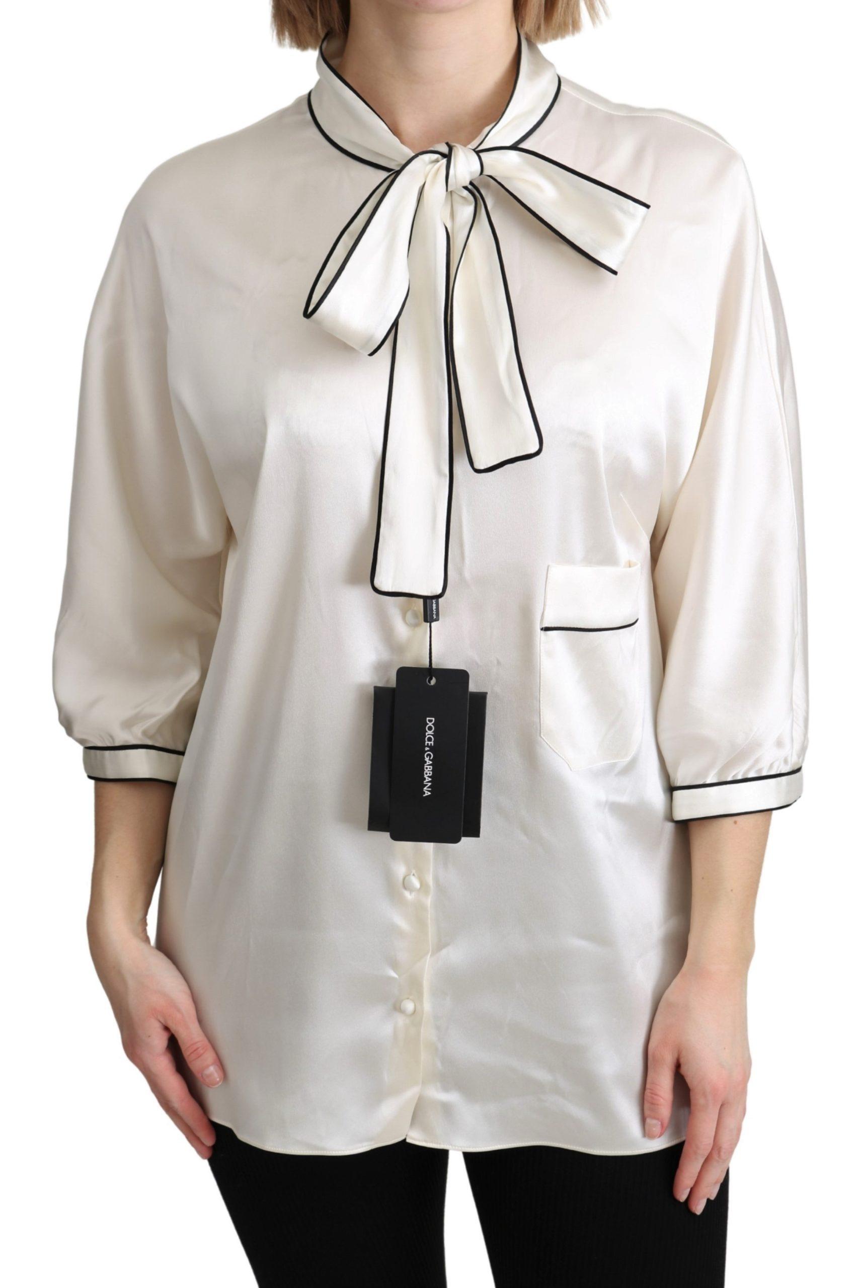 Dolce & Gabbana Women's Silk Off Top White TSH4818 - IT46 XL