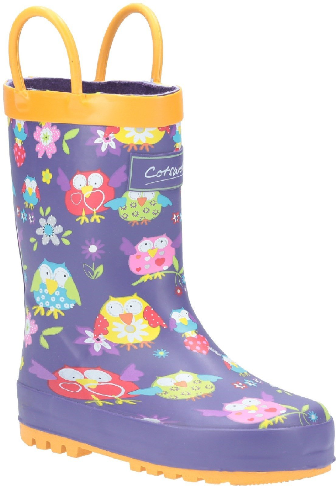 Cotswold Kids Puddle Waterproof Pull On Boot Multicolor 20962 - Owl 4.5
