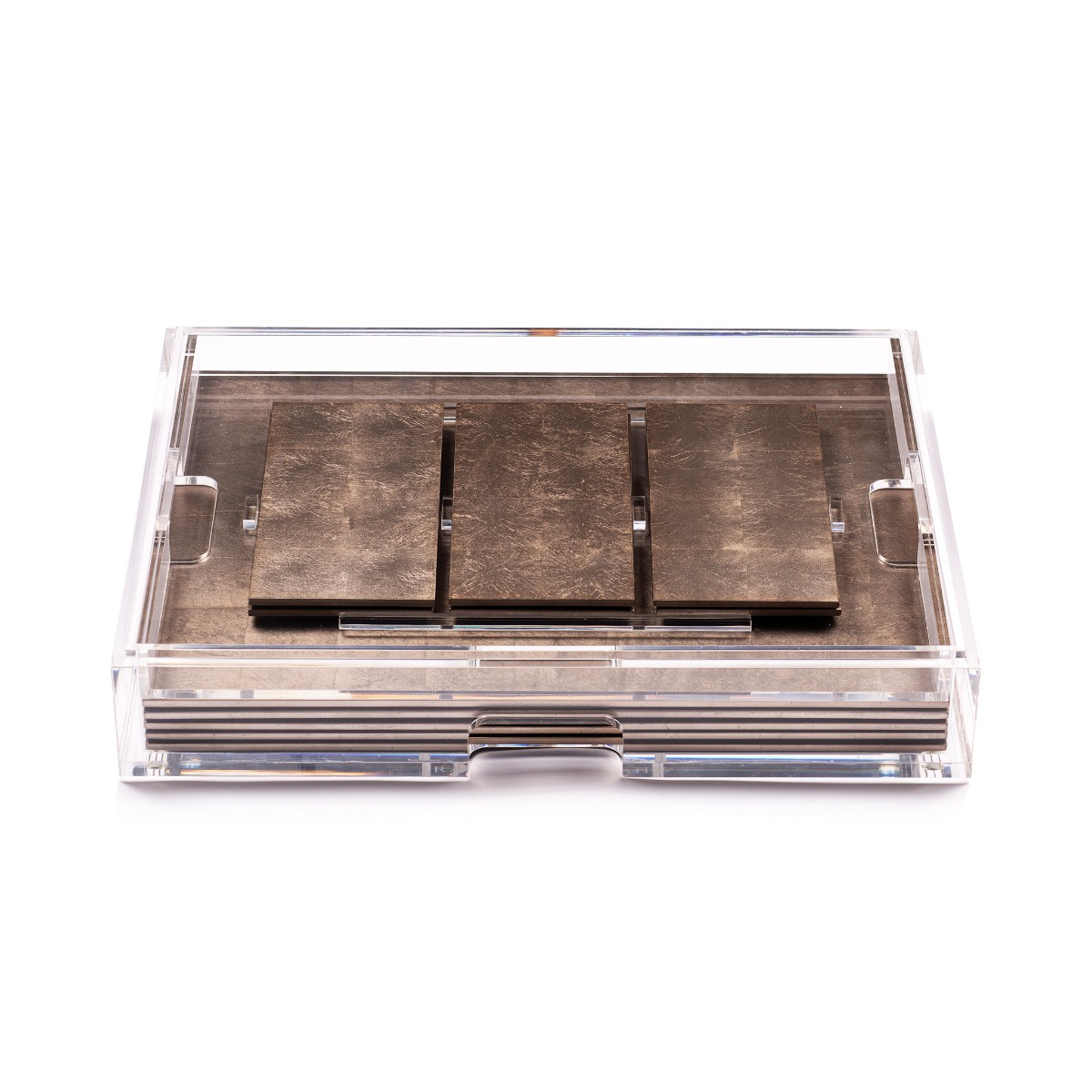 Posh Trading I Clear Grand Matbox I Silver Leaf Taupe