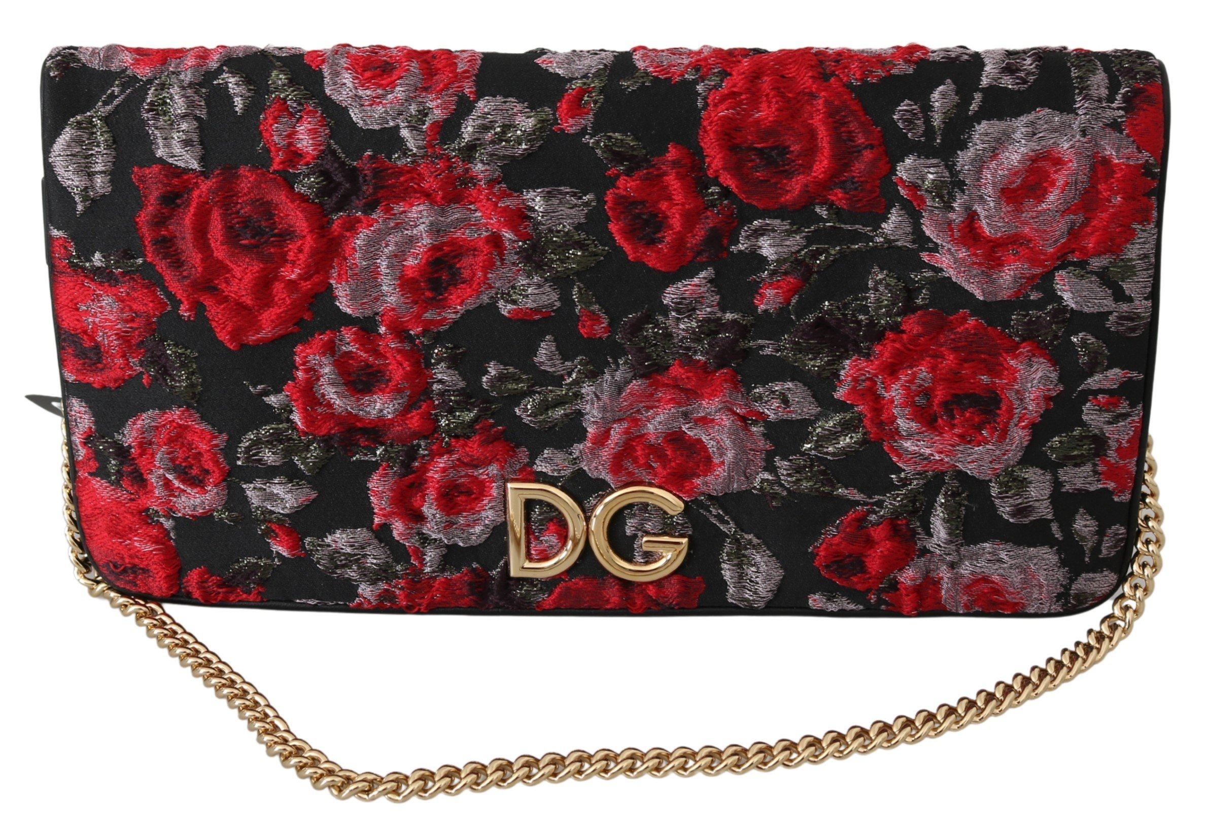 Dolce & Gabbana Women's Roses Jacquard Clutch Bag Black VAS9921