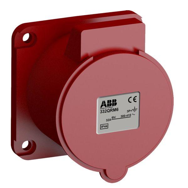 ABB 2CMA102366R1000 Paneluttak hurtigtilkoblet, vibrasjonsbestandig Rett, 4-polet, 32 A, 56x56 mm