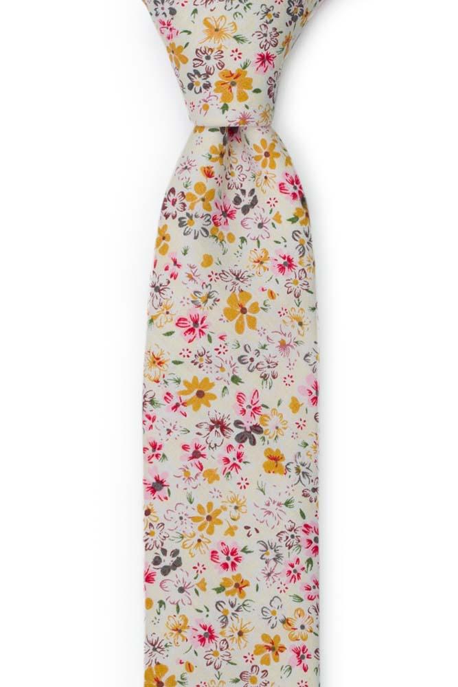 Bomull Smale Slips, Blek gul & varm rosa, honning og hvite blomster