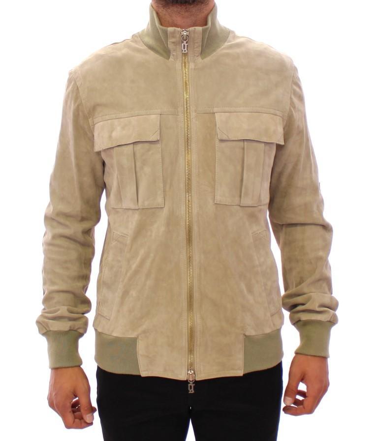 John Galliano Men's Suede Leather Jacket Beige PHH10027 - IT50 | M-L
