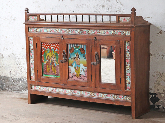 Ornate Antique Indian Sideboard Brown