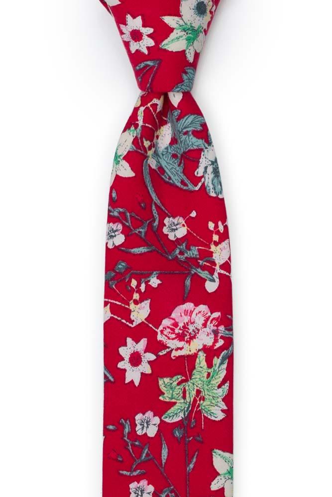 Bomull Smale Slips, Hvit, rosa & grønne blomster på intens rød, Rød, Blomster