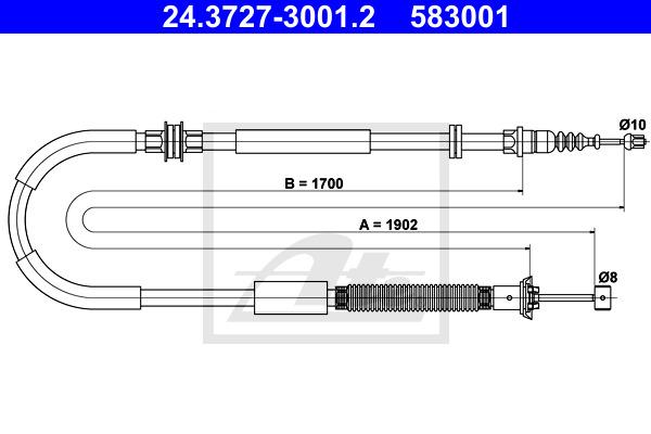 Käsijarruvaijeri ATE 24.3727-3001.2