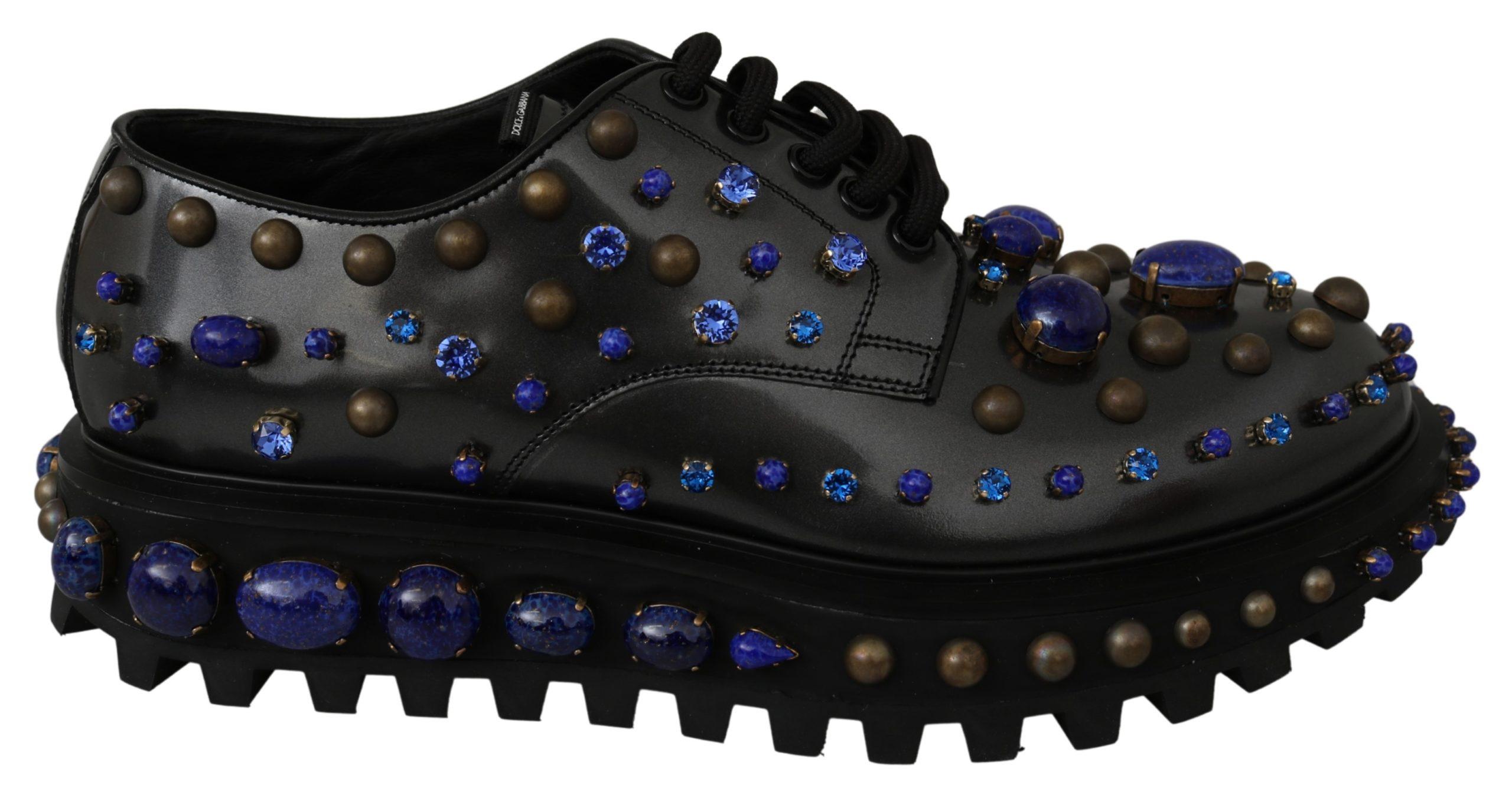 Dolce & Gabbana Men's Leather Fashion Crystal Derby Shoe Black MV3000 - EU44/US11