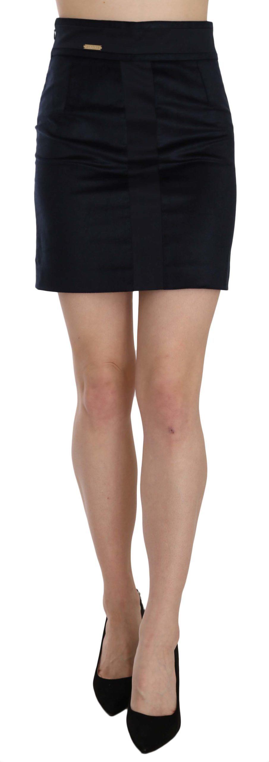 GF Ferre Women's Cotton Blend High Waist A-line Mini Skirt Blue TSH3948 - IT42|M