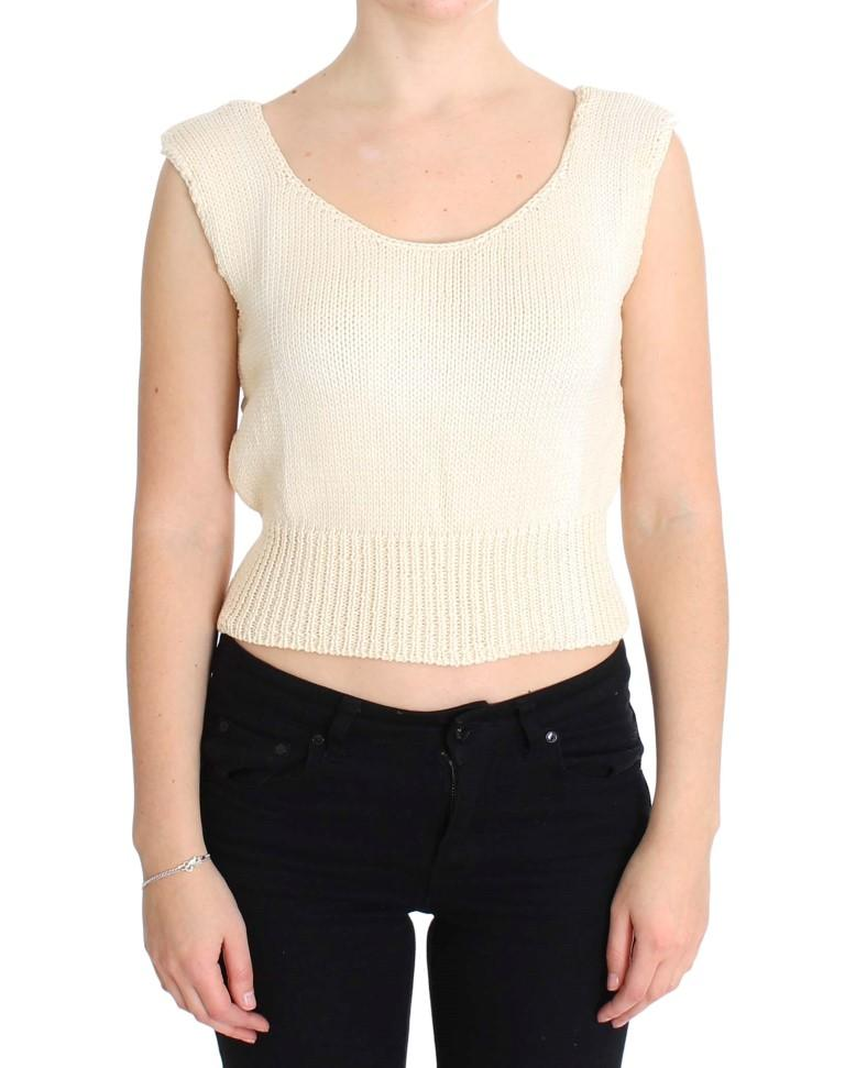 Pink Memories Women's Knitted Sleeveless Sweater Beige SIG30256 - One Size