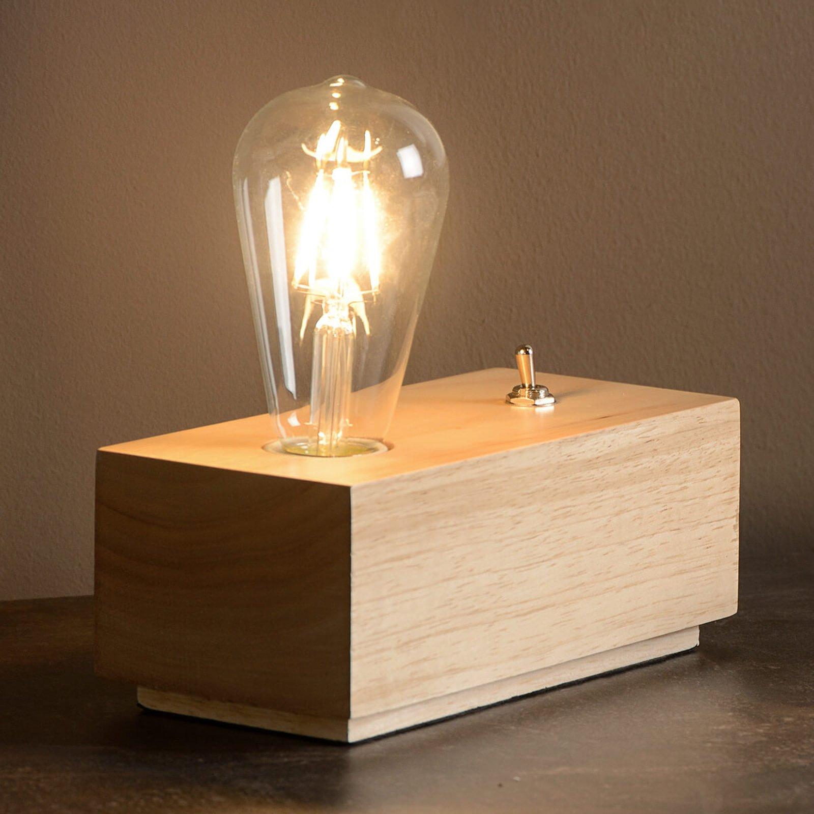 Edison blokkformet LED-bordlampe av tre