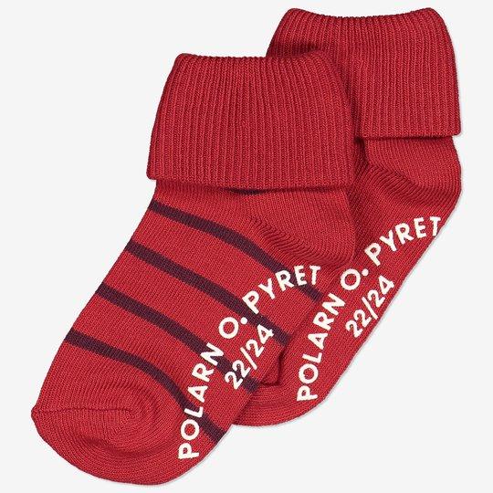 2-pakning sokker med sklisikring. rød