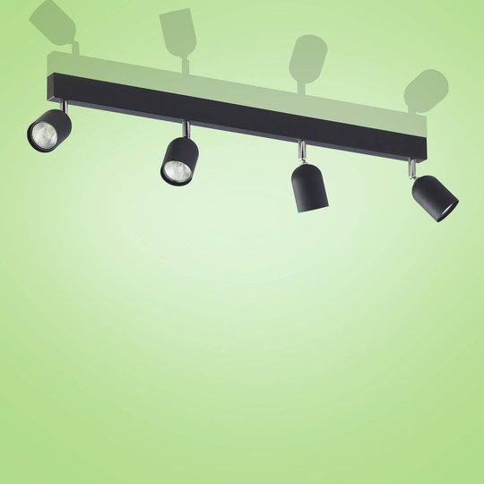 Top takspot, 4 lyskilder, lang, svart
