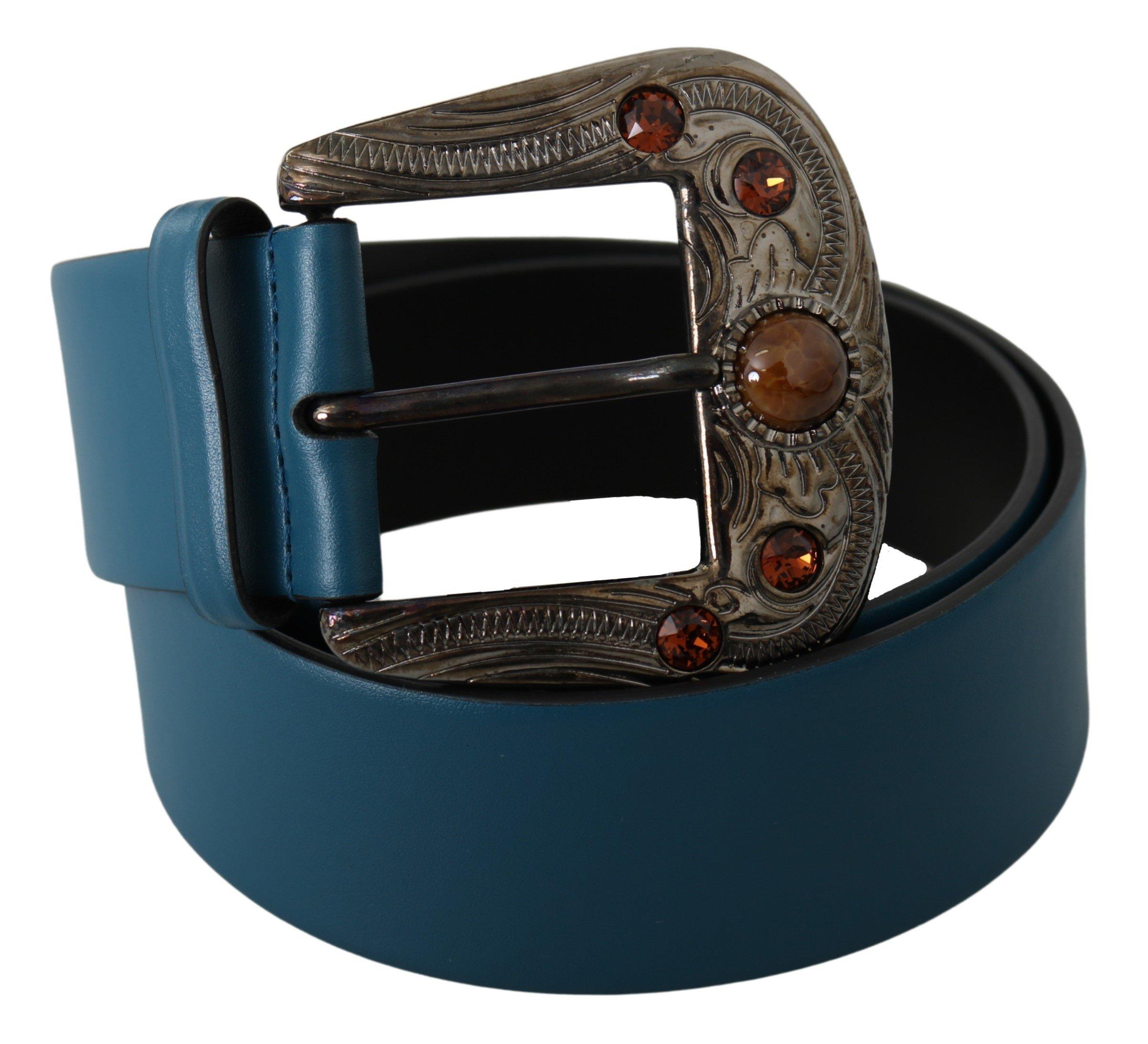 Blue Leather Orange Crystal Baroque Buckle Belt - 90 cm / 36 Inches