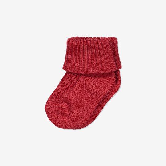 Ensfargede sokker nyfødt rød