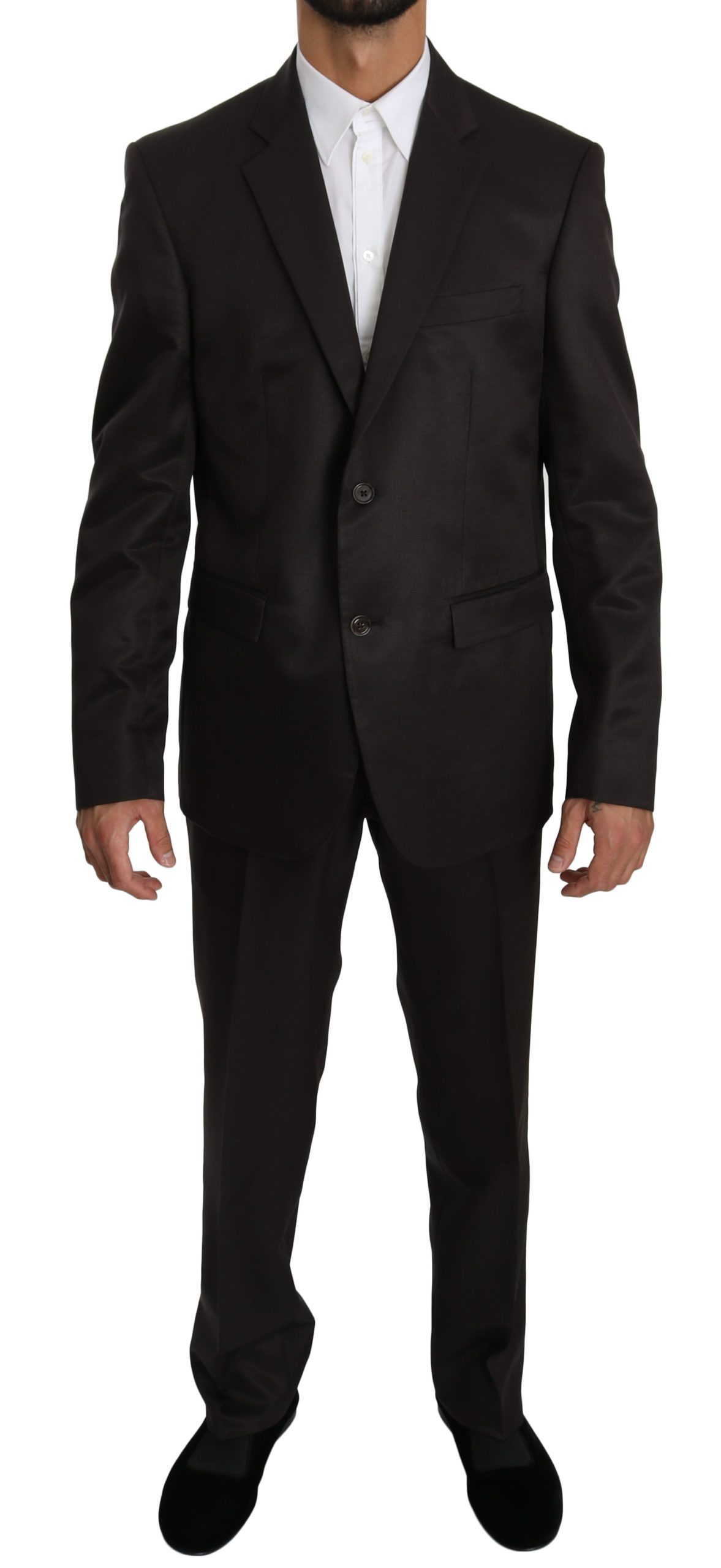 Dolce & Gabbana Men's Slim Fit 2 Piece Wool Silk Suit Brown KOS1609 - IT50   L