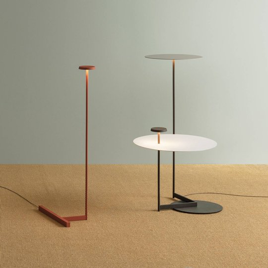Vibia Flat LED-gulvlampe 90 cm grå L1, dimbar