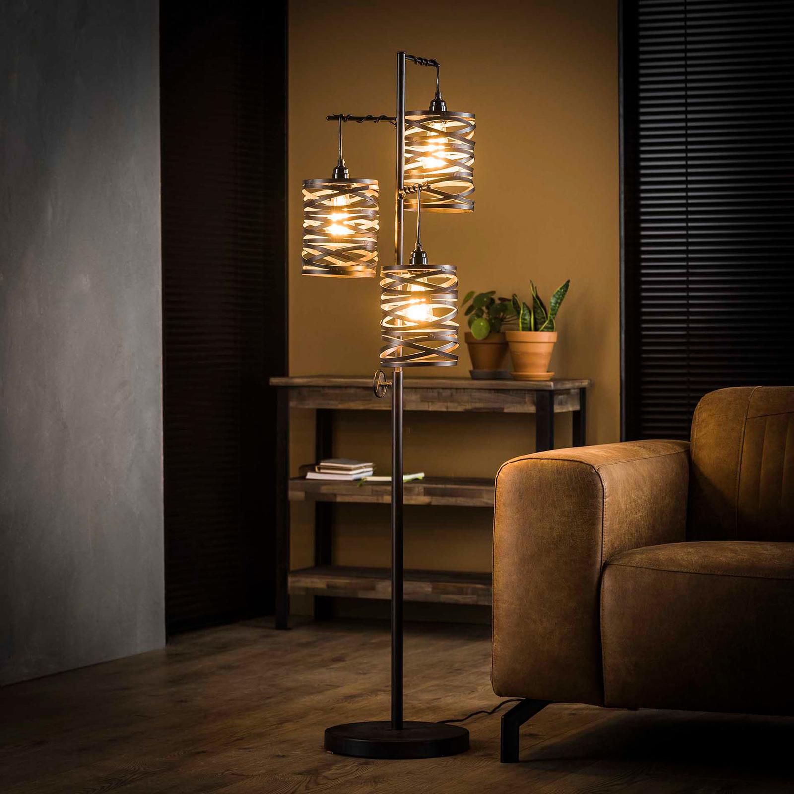 Pöytälamppu Spindlight, 3-lamppuinen, kork. 150 cm