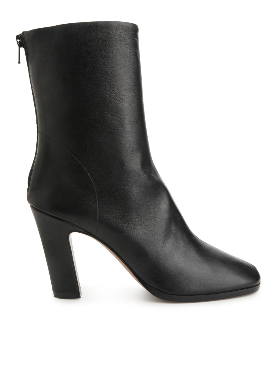 Heeled Leather Sock Boots - Black