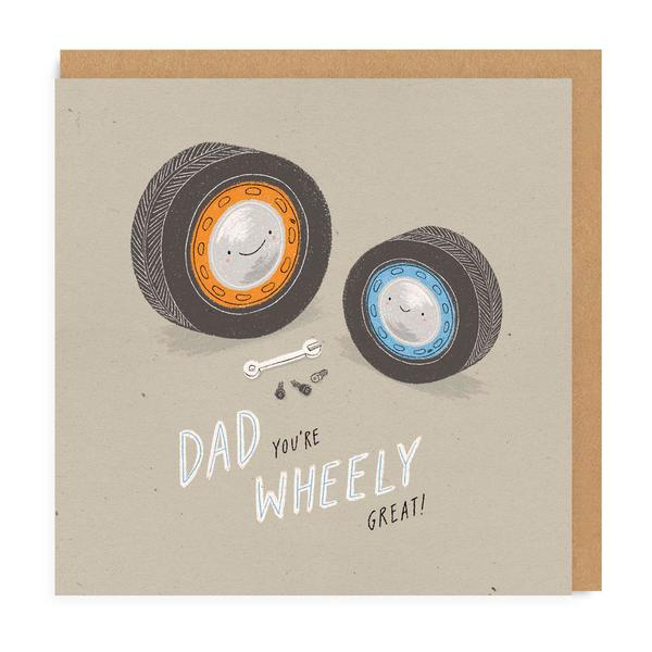 Dad You're Wheely Great Square Greeting Card