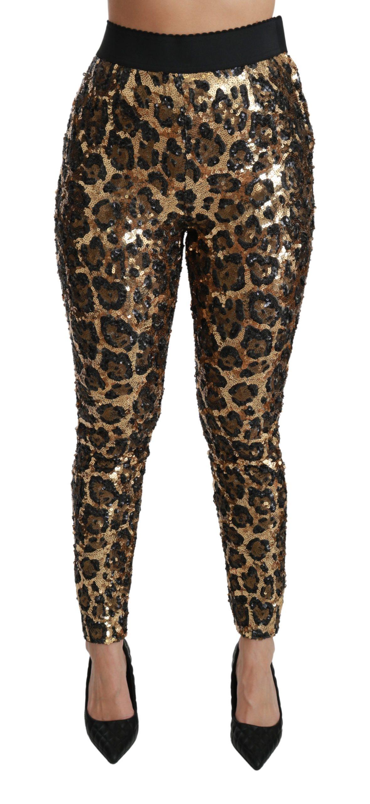 Dolce & Gabbana Women's Leopard Sequined Legging Trouser Brown PAN70932 - IT40|S