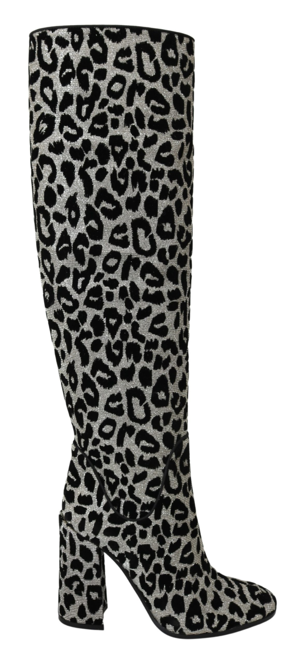 Dolce & Gabbana Women's Leopard Knee High Boot Black LA7087 - EU39.5/US9