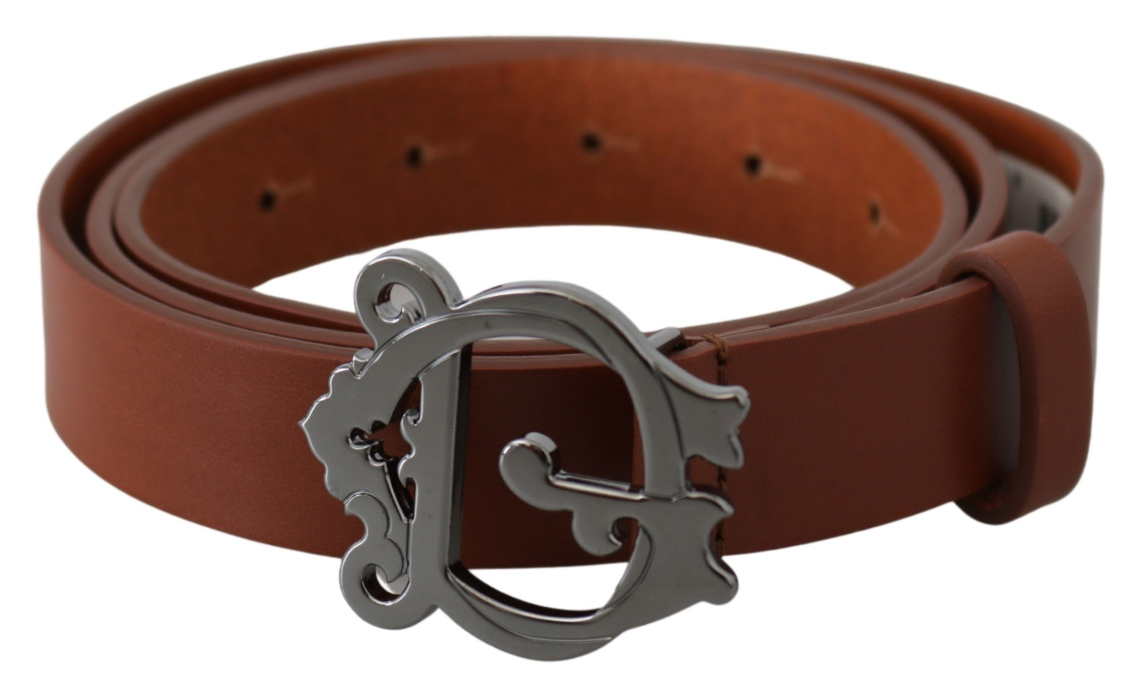 Brown Leather Gray Baroque Logo Buckle Belt - 90 cm / 36 Inches