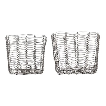 Basket, Grey, Metal