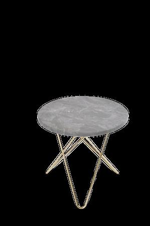 Mini O Table Grå Marmor med Mässingram Ø40
