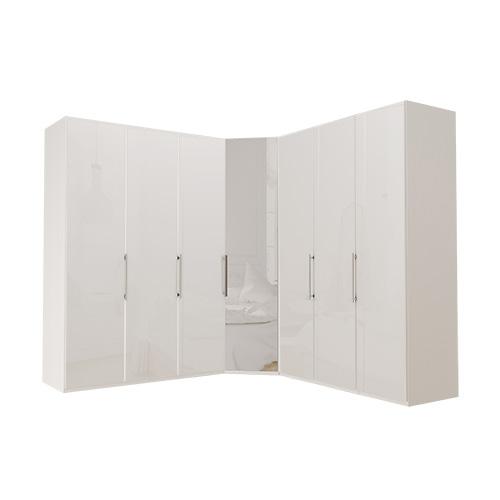 Garderobe Atlanta - Hvit 150 + hjørne + 150, 236 cm, Hvitt glass