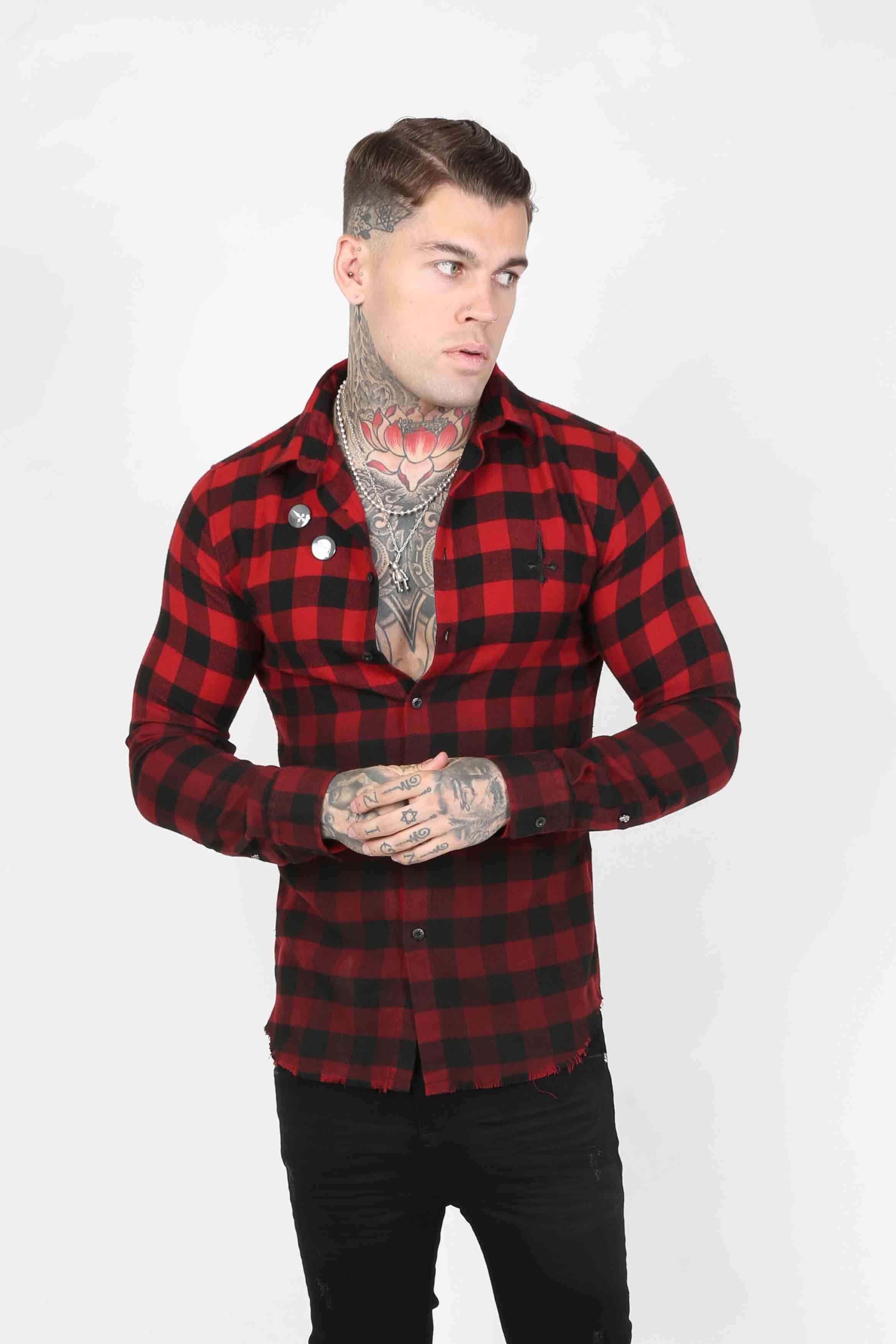 Squared Plaid Men's Shirt - Red, Small