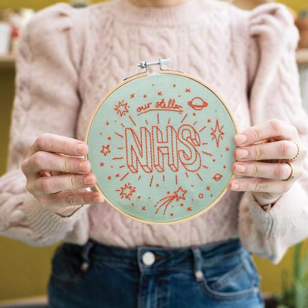 Our Stellar NHS Mint Embroidery Hoop Kit
