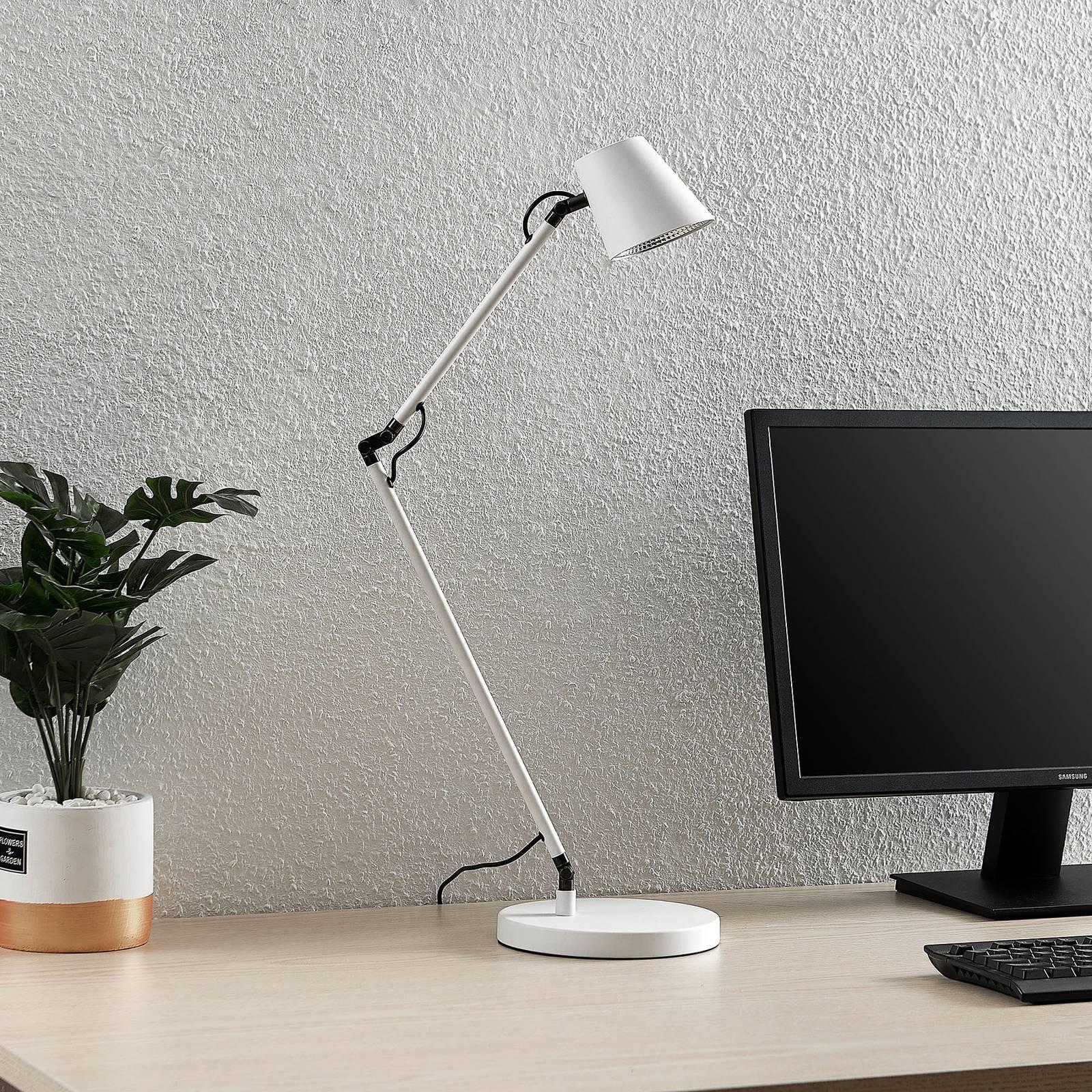 Lucande Tarris -LED-pöytälamppu, valkoinen
