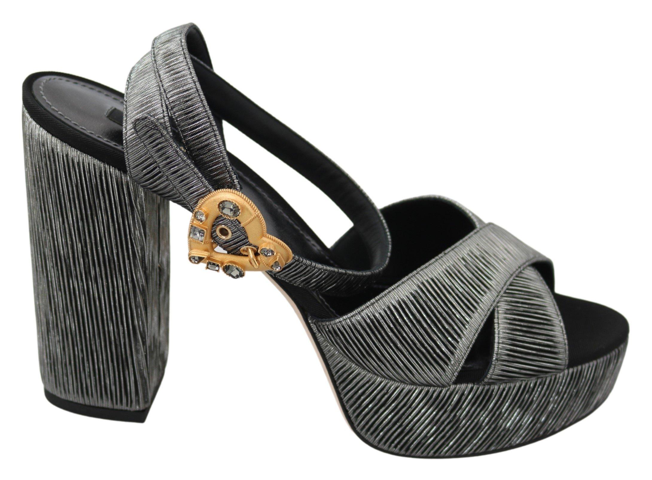 Gray Heart Heels Sandals Platform Shoes - EU41/US10.5
