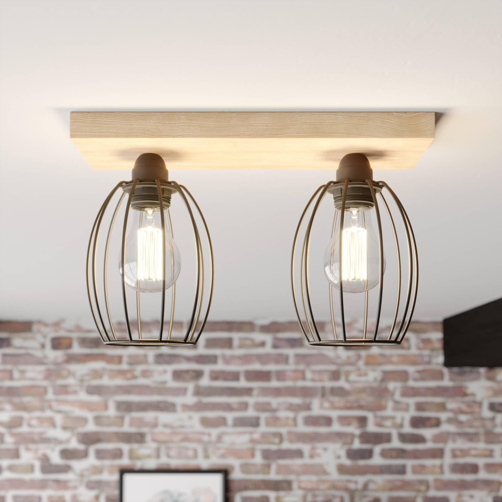 Taklampe Beevly, tre og metall, 2 lyskilder