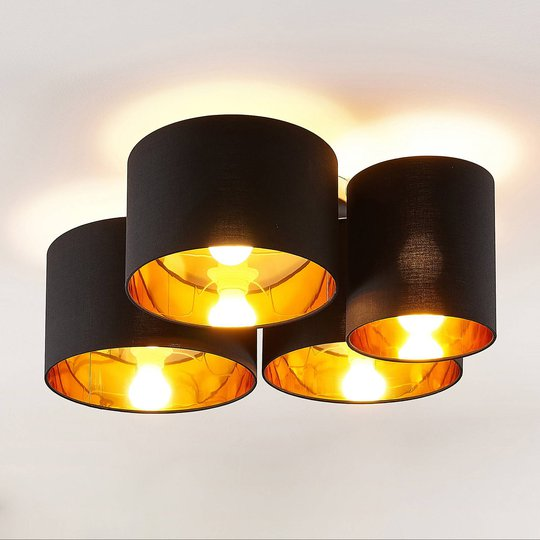 Lindby Laurenz -kattovalo, 4-lamp., musta-kulta