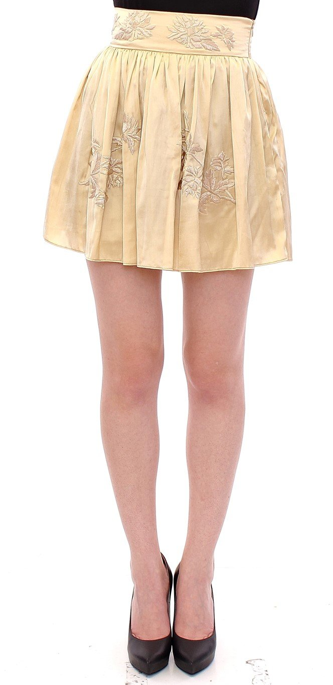Andrea Incontri Women's Floral Embroidery Mini Skirt Beige GSS10717 - IT42 M