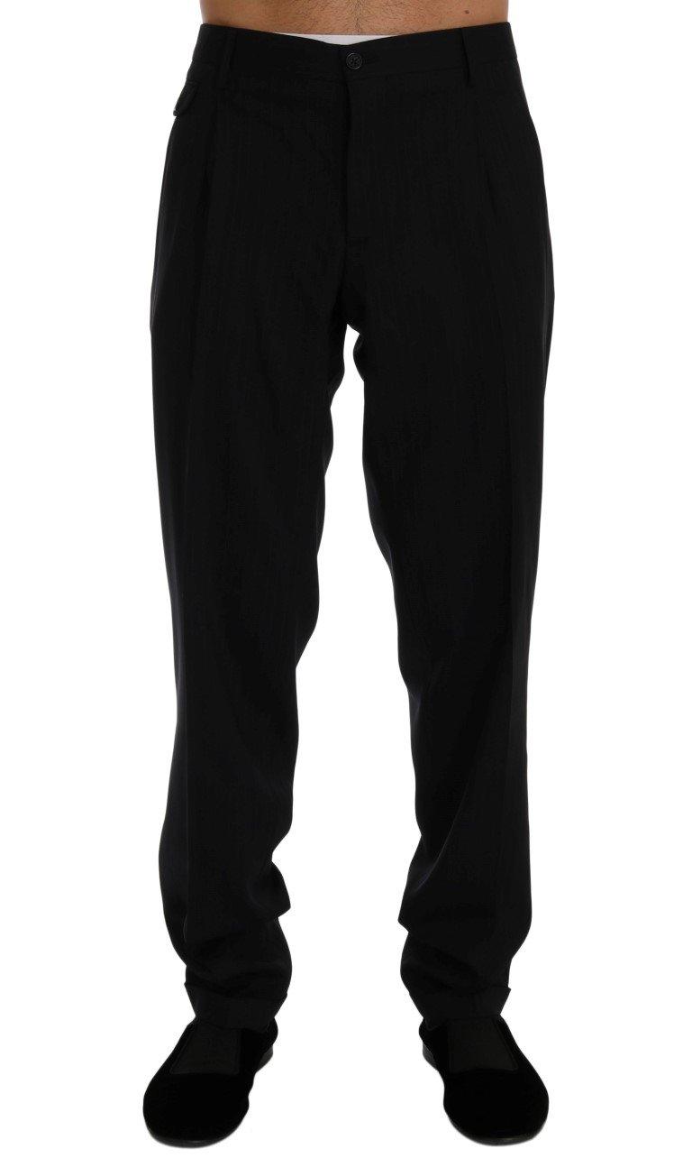 Dolce & Gabbana Men's Striped Wool Stretch Trouser Blue PAN60375 - IT54   XXL