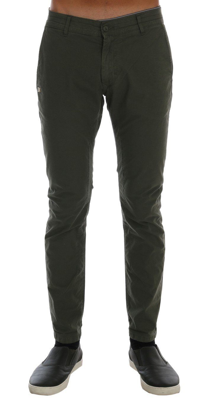 Daniele Alessandrini Men's Cotton Stretch Slim Fit Trouser Green TSH1379 - W30