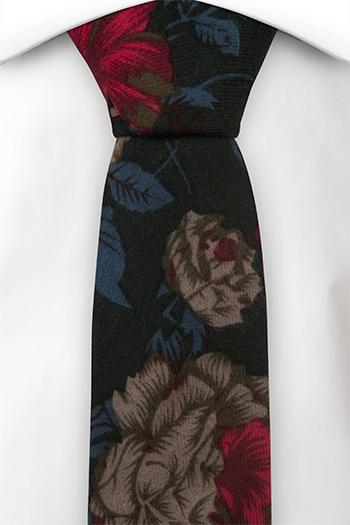 Bomull Smale Slips, Grønn bakgrunn med blomster i beige, rød og blå, Notch ZHANG