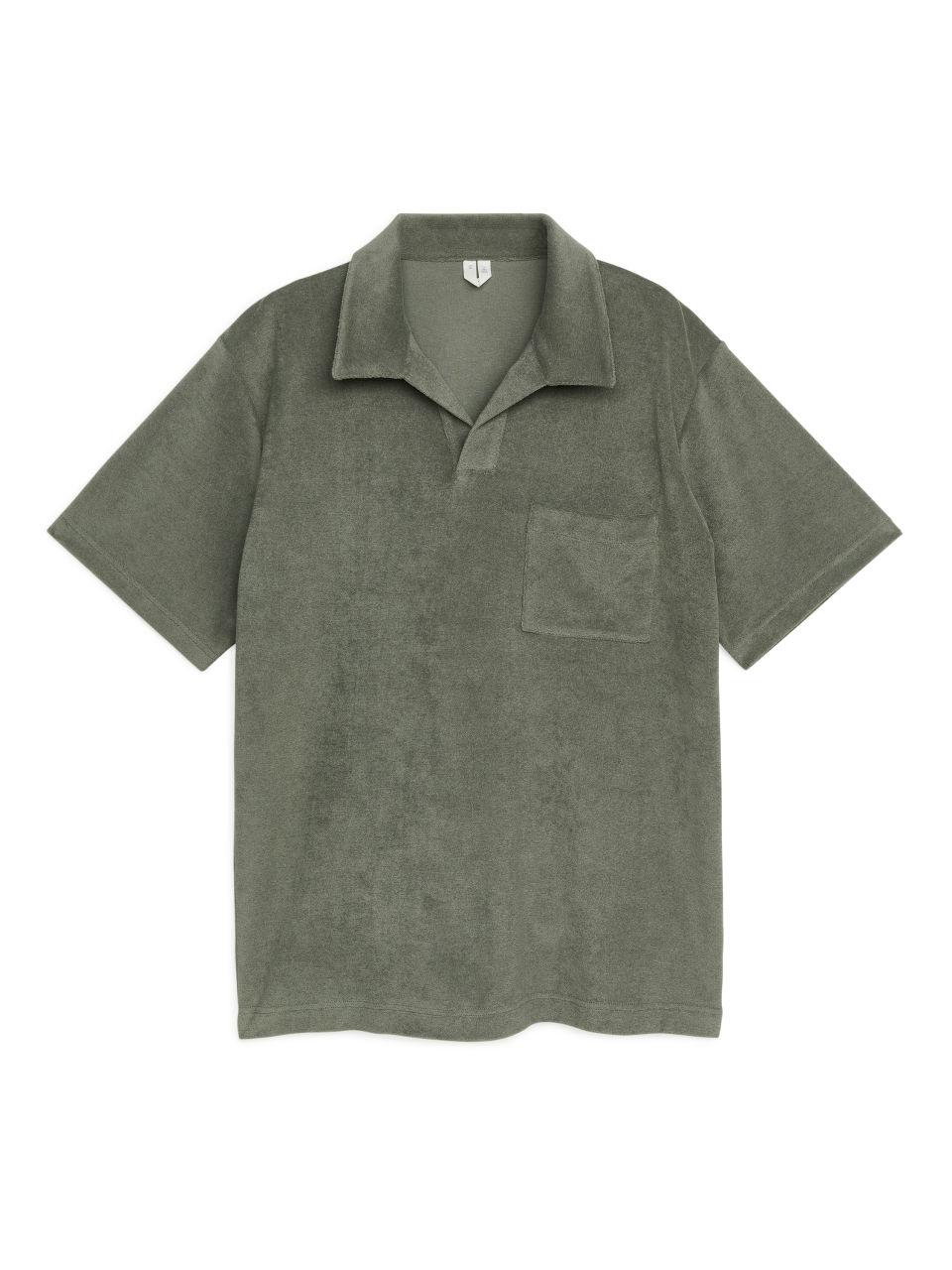 Cotton Towelling Polo Shirt - Green