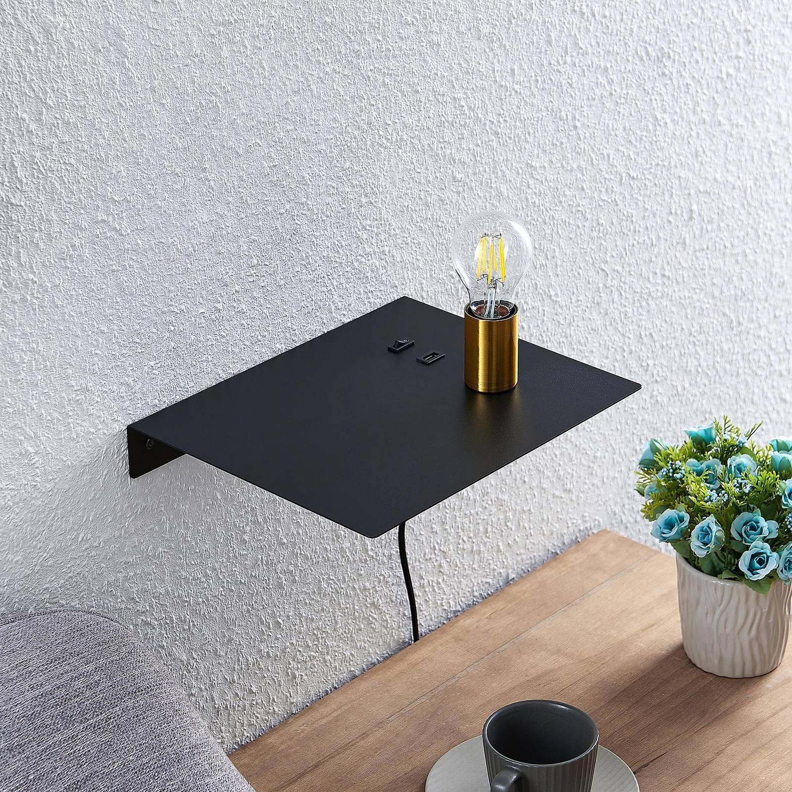 Lucande Malvina -seinälamppu, USB, messinki