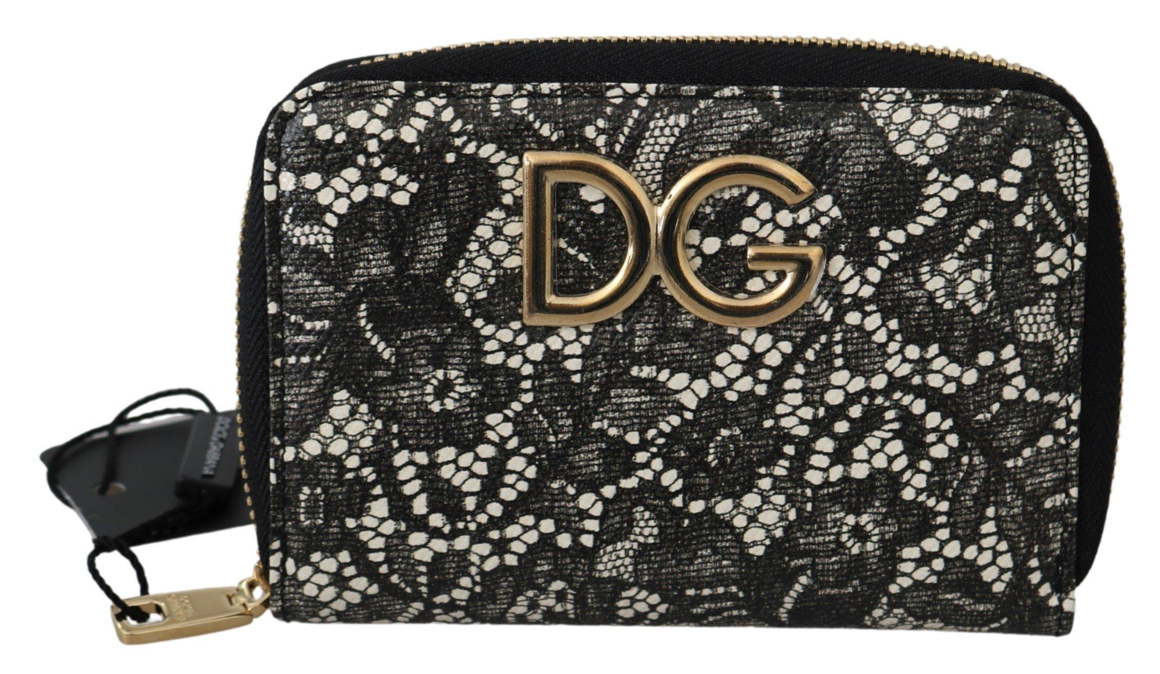 Dolce & Gabbana Women's Floral Lace Leather Zip Wallet Black VAS9687