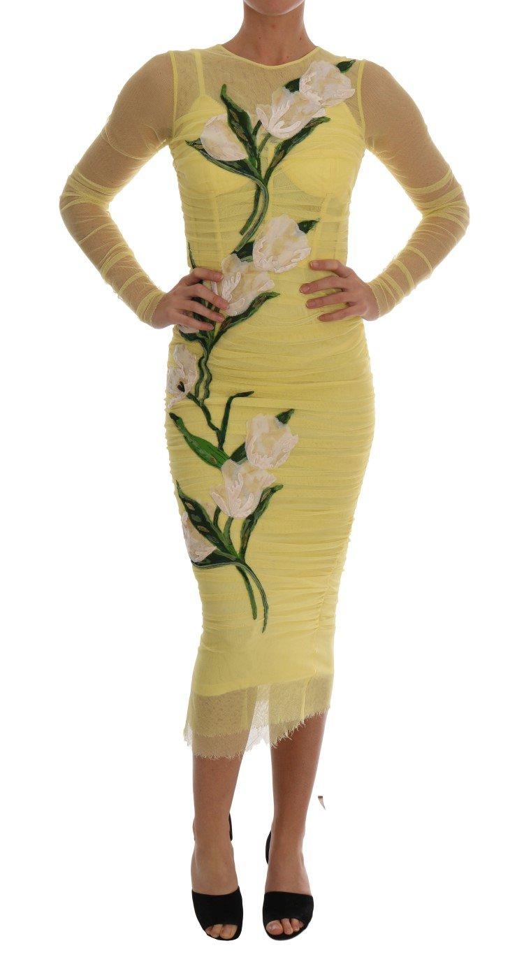 Dolce & Gabbana Women's Floral Tulip Stretch Dress Yellow DR1288 - IT38 | S