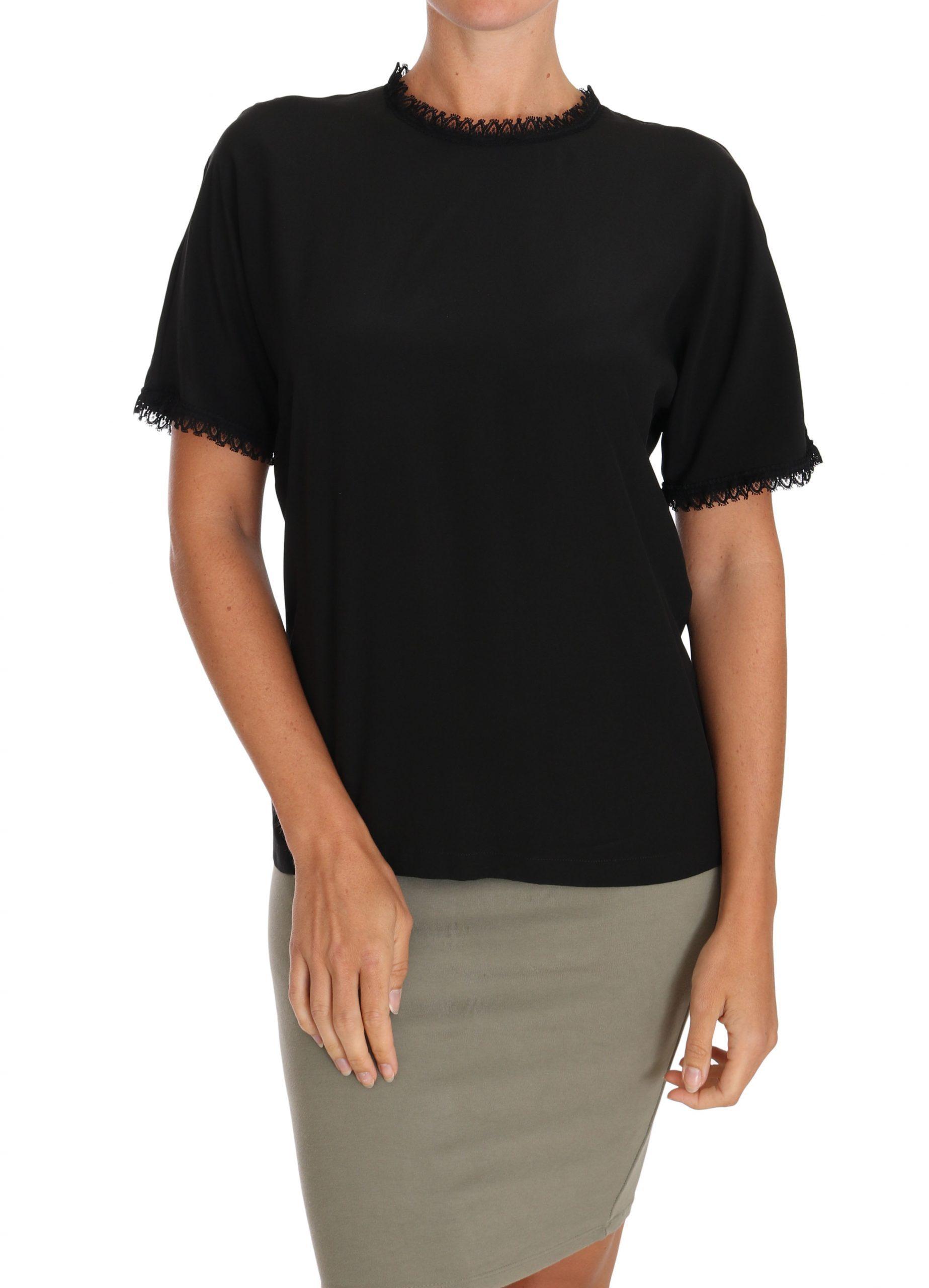 Black Silk Lace Top Blouse T-Shirt - IT38|XS
